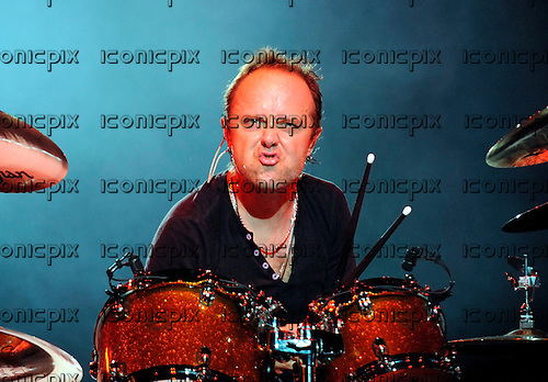 Metallica - drummer Lars Ulrich performing live in concert celebrating the release of the new album Death Magnetic at the O2 World in Berlin, Germany - 12 Sep 2008.  Photo credit: Hans-Martin Issler/IconicPix