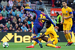 League Santander 2017/2018. Game: 28.<br /> FC Barcelona vs At. Madrid: 1-0.<br /> Lionel Messi vs Thomas.