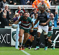 Leicester Tigers' Adam Thompstone celebrates scoring his side's third try <br /> <br /> Photographer Stephen White/CameraSport<br /> <br /> Gallagher Premiership Round 2 - Leicester Tigers v Newcastle Falcons - Saturday September 8th 2018 - Welford Road - Leicester<br /> <br /> World Copyright &copy; 2018 CameraSport. All rights reserved. 43 Linden Ave. Countesthorpe. Leicester. England. LE8 5PG - Tel: +44 (0) 116 277 4147 - admin@camerasport.com - www.camerasport.com