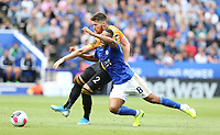 Wolverhampton Wanderers' Matt Doherty battles with Leicester City's Youri Tielemans <br /> <br /> <br /> <br /> Photographer Stephen White/CameraSport<br /> <br /> The Premier League - Leicester City v Wolverhampton Wanderers - Sunday 11th August 2019 - King Power Stadium - Leicester<br /> <br /> World Copyright © 2019 CameraSport. All rights reserved. 43 Linden Ave. Countesthorpe. Leicester. England. LE8 5PG - Tel: +44 (0) 116 277 4147 - admin@camerasport.com - www.camerasport.com