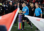 Referee Stuart Attwell picks up the match ball from the Rainbow Laces podium during the Premier League match at Bramall Lane, Sheffield. Picture date: 5th December 2019. Picture credit should read: Simon Bellis/Sportimage
