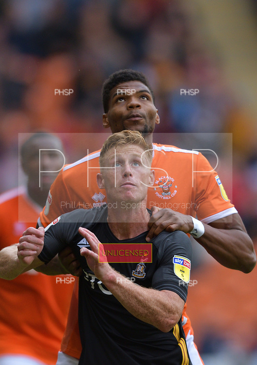 08/09/2018 Sky Bet League 1 Blackpool v Bradford City<br /> <br /> Michael Nottingham monitors Eoin Doyle
