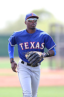 Travis Demeritte #72 of the Texas Rangers during a Minor League Spring Training Game against the Kansas City Royals at the Kansas City Royals Spring Training Complex on March 20, 2014 in Surprise, Arizona. (Larry Goren/Four Seam Images)