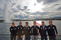 Swiss, Genève, September 14, 2015, Tennis,   Davis Cup, Swiss-Netherlands, Dutch team on a boat trip on lake Geneve, ltr: Tallon Griekspoor, Thiemo de Bakker, Jesse Huta Galung, Tim van Rijthoven , captain Jan Siemerink and Matwe Midelkoop<br />