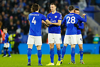 8th January 2020; King Power Stadium, Leicester, Midlands, England; English Football League Cup Football, Carabao Cup, Leicester City versus Aston Villa; Leicester City players encourage each other before the first half - Strictly Editorial Use Only. No use with unauthorized audio, video, data, fixture lists, club/league logos or 'live' services. Online in-match use limited to 120 images, no video emulation. No use in betting, games or single club/league/player publications