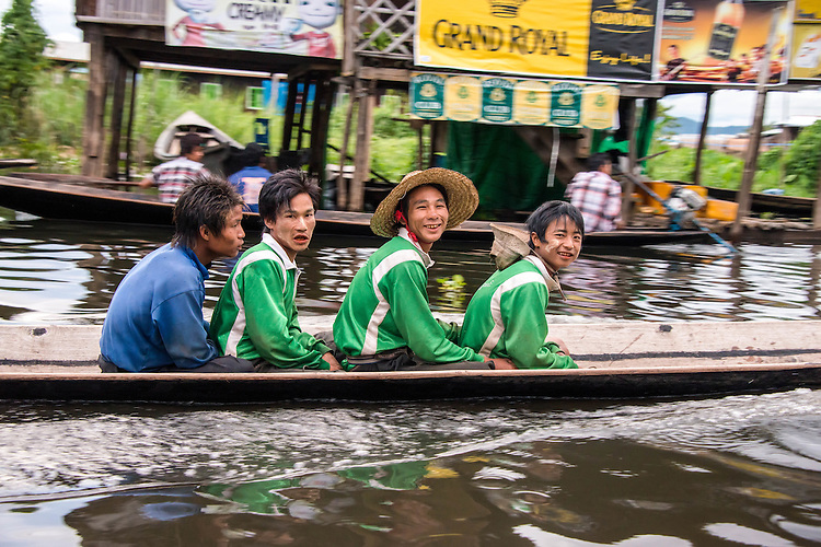 Most transportation on the lake is traditionally by small boats practicing unique rowing style with only one quant. (Xinhua/U Aung)