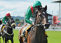 Sharestan (no. 1), ridden by Johnny Murtagh and trained by John Oxx, wins the Celebration Stakes for three year olds and upward on June 30, 2012 at the Curragh Racecourse in Newbridge, Kildare, Ireland.  (Bob Mayberger/Eclipse Sportswire)
