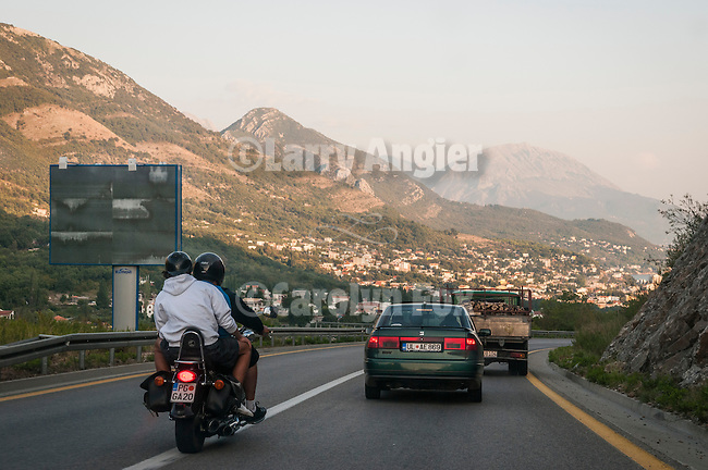 Driving by automobile north of Bar toward Tivat on the coast of Montenegro on the Adriatic Sea