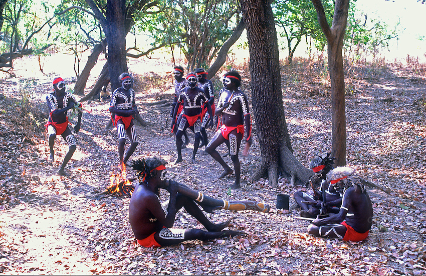 Gathering of traditional Australian Aborigines in the Katherine are Norther Territory.
