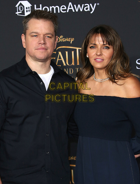 02 March 2017 - Hollywood, California - Luciana Barroso, Matt Damon. Disney's &quot;Beauty and the Beast' World Premiere held at El Capitan Theatre.   <br /> CAP/ADM/FS<br /> &copy;FS/ADM/Capital Pictures