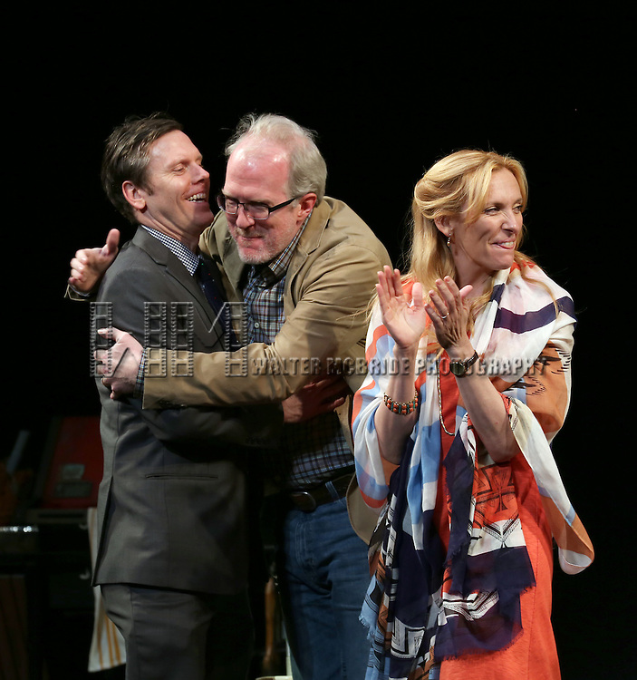 Tracy Letts, Playwright Will Eno and Toni Collette  during the Broadway Opening Night Performance Curtain Call for 'The Realistic Joneses'  at the Lyceum Theatre on April 6, 2014 in New York City.