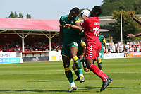Josh Umerah of Ebbsfleet United and Mitch Rose of Notts County during Ebbsfleet United vs Notts County, Vanarama National League Football at The Kuflink Stadium on 24th August 2019
