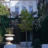 The tall second-floor windows seen from the courtyard garden are dressed in a Venetian style with white curtains on the outside
