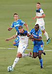 Getafe CF's Nemanja Maksimovic (l) and Allan Nyom (r) and Atalanta BC's Mario Pasalic (t) and Robin Gosens during friendly match. August 10,2019. (ALTERPHOTOS/Acero)
