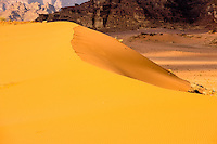 Jordan. Wadi Rum is also known as The Valley of the Moon. Sand dunes.