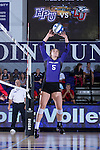 Jenna Smith (5) of the High Point Panthers sets the ball during the match against the Liberty Flames at the Millis Athletic Center on September 23, 2016 in High Point, North Carolina.  The Panthers defeated the Flames 3-1.   (Brian Westerholt/Sports On Film)