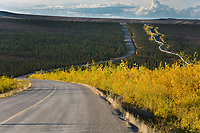 Trans Alaska oil pipeline along the James Dalton Highway, (Haul road) Alaska.