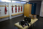 A view of the home dressing room before Gala Fairydean Rovers host Gretna 2008 in a Scottish Lowland League match at Netherdale, Galashiels. The home club were established in 2013 through a merger of Gala Fairydean, one of Scotland's most successful non-League clubs, and local amateur club Gala Rovers. The visitors were a 'phoenix' club set up in the wake of the collapse of the original club, which had competed for a short time in the 2000s before going bankrupt. The home aside won this encounter 4-1 watched by a crowd of 120 at a stadium which features one of the country's most notable stands, a listed building constructed in 1964 but at the time of this fixture closed to spectators on safety grounds.