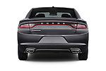 Straight rear view of a 2015 Dodge Charger SE FWD 4 Door Sedan Rear View  stock images