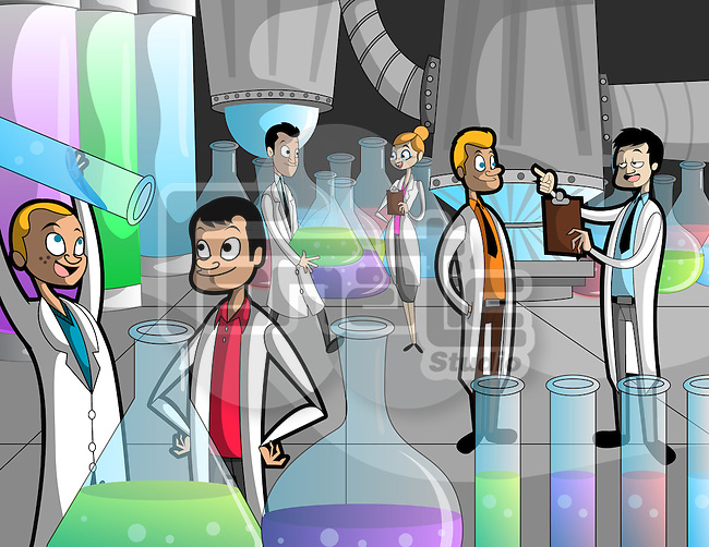 Illustration of scientists experimenting in laboratory