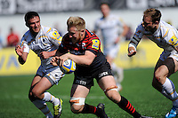 Jackson Wray of Saracens scores a try during the Aviva Premiership match between Saracens and Worcester Warriors at Allianz Park on Saturday 3rd May 2014 (Photo by Rob Munro)