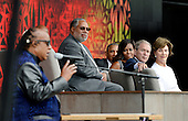 (R to L) : Former First Lady Laura Bush, former President George W. Bush, U.S President Barack Obama and First Lady Michelle Obama listen to singer Stevie Wonder  during the opening ceremony of the Smithsonian National Museum of African American History and Culture on September 24, 2016 in Washington, DC. The museum is opening thirteen years after Congress and President George W. Bush authorized its construction. <br /> Credit: Olivier Douliery / Pool via CNP