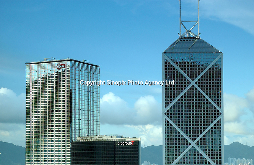 Skylines at the main business district in Hong Kong. Cheung Kong Building (left), CitiGroup Building (middle) and the Bank of China Building (right)..