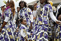 Switzerland. Canton Valais. St-Maurice. Africa Saints Pilgrimage (Pèlerinage aux Saints d'Afrique). Religious choir, originally from Cameroon, sings and celebrates its faith and belief in Jesus  Christ. The first part of the pilgrimage takes place in Véroliez which is a part of the town of St-Maurice. 2.06.13 © 2013 Didier Ruef