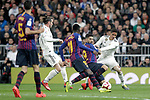(L-R) Real Madrid CF's Sergio Busquets, Ousmane Dembele, Luis Suarez  and FC Barcelona's Gareth Bale, Raphael Varane during La Liga match. March 02,2019. (ALTERPHOTOS/Alconada)