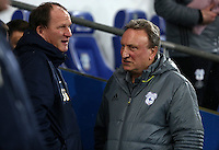 Preston North End manager Simon Grayson talks to Cardiff City Manager Neil Warnock prior to kick off of the Sky Bet Championship match between Cardiff City and Preston North End at Cardiff City Stadium, Wales, UK. Tuesday 31 January 2017