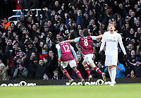 Barclays Premier League, West Ham United (red)V Swansea City Fc (white), Boelyn Ground, 02/02/13<br /> Pictured: Andy Carroll puts the home side one nil up in the second half<br /> Picture by: Ben Wyeth / Athena Picture Agency<br /> info@athena-pictures.com