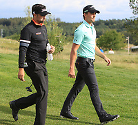 Haydn Porteous (RSA) walking down the 13th fairway with Lee Slattery (ENG) during Round 4 of the D+D Real Czech Masters at the Albatross Golf Resort, Prague, Czech Rep. 03/09/2017<br /> Picture: Golffile | Thos Caffrey<br /> <br /> <br /> All photo usage must carry mandatory copyright credit     (&copy; Golffile | Thos Caffrey)