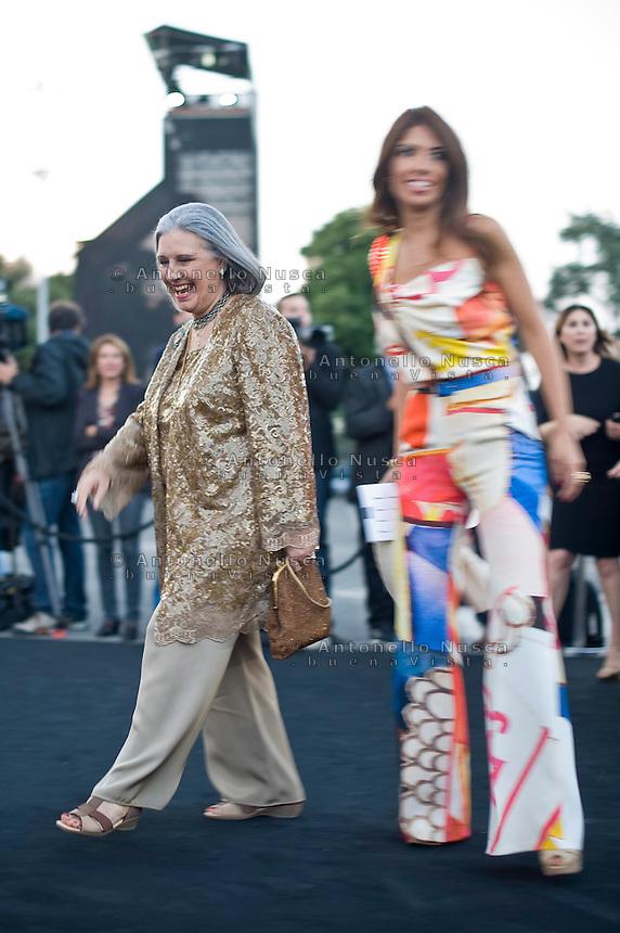 Roma, 5 Giugno, 2013. Laura e Lavinia Biagiotti al 'One Night Only' Roma organizzato da Giorgio Armani al Palazzo della Civilta Italiana.