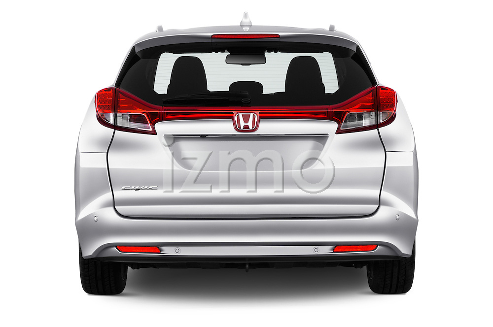 Straight rear view of 2016 Honda Civic Tourer Executive 5 Door Wagon Rear View  stock images