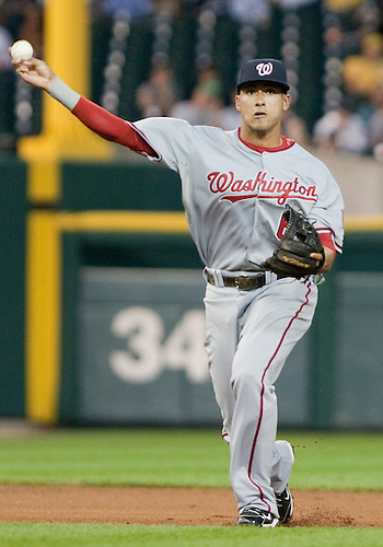 June 15, 2010: Washington Nationals shortstop Ian Desmond (#6) throws to first for out in game action between the Washington Nationals and the Detroit Tigers at Comerica Park in Detroit, Michigan.  The Tigers defeated the Nationals 7-4..