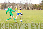 Tralee Athletic Colin Slattery gets past Cedar Galaxy Pa Murphy -  Cedar Galaxy V Tralee Athletic at Mounthawk Park on Sunday