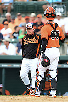 Baltimore Orioles manager Buck Showalter (26) looks to catcher Caleb Joseph (63) during a spring training game against the Pittsburgh Pirates on March 23, 2014 at Ed Smith Stadium in Sarasota, Florida.  Baltimore and Pittsburgh tied 7-7.  (Mike Janes/Four Seam Images)
