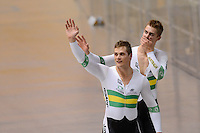 MATTHEW GLAETZER and SCOTT SUNDERLAND of the Australian team celebrate winning the Team Sprint on day 1 of the 2012 UCI Track Cycling World Championships at Hisense Arena in Melbourne, Australia. Photo Sydney Low. Copyright Sydney Low. All rights reserved. No reproduction permitted. Access via FlickrAPI not permitted.