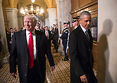 United States President-elect Donald Trump, left, and President Barack Obama arrive for Trump's inauguration ceremony at the Capitol in Washington, Friday, Jan. 20, 2017. Trump, a real estate mogul and reality television star who upended American politics and energized voters angry with Washington, will be sworn in as the 45th president of the United States, putting Republicans in control of the White House for the first time in eight years. <br /> Credit: J. Scott Applewhite / Pool via CNP