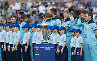 The World Cup and the England team at the starting ceremony during England vs New Zealand, ICC World Cup Cricket at The Riverside Ground on 3rd July 2019