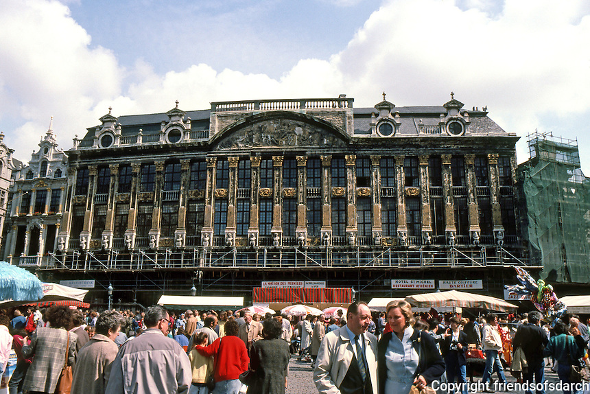 Brussels: Grand Place, East Side. House of the Dukes of Brabant, 1698--in fact a group of six houses behind Italianate facade. Photo '87.