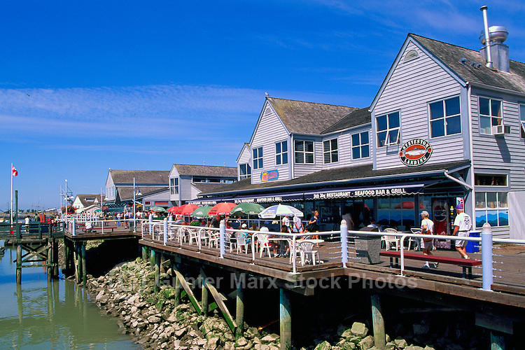 "Steveston, BC, British Columbia, Canada - Historic Fishing Village, Outdoor Restaurants along ""Steveston Landing"" Waterfront and Fraser River, Summer"
