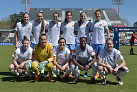 Cary, NC - Saturday March 31, 2018: Sky Blue FC Starting XI  during a regular season National Women's Soccer League (NWSL) match between the North Carolina Courage and Sky Blue FC at Sahlen's Stadium at WakeMed Soccer Park.