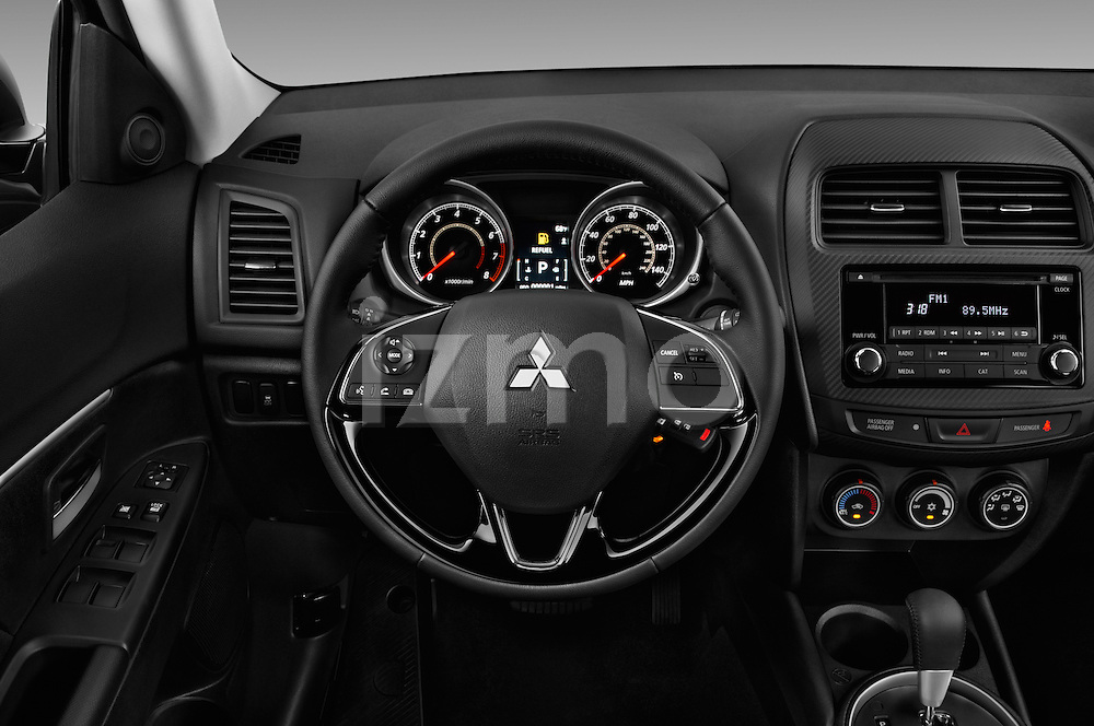 Car pictures of steering wheel view of a 2016 Mitsubishi Outlander-Sport 2.4-ES-AWC-CVT 5 Door SUV Steering Wheel