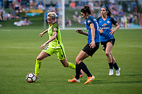 Kansas City, MO - Saturday June 17, 2017: Megan Rapinoe, Yael Averbuch, Erika Tymrak during a regular season National Women's Soccer League (NWSL) match between FC Kansas City and the Seattle Reign FC at Children's Mercy Victory Field.