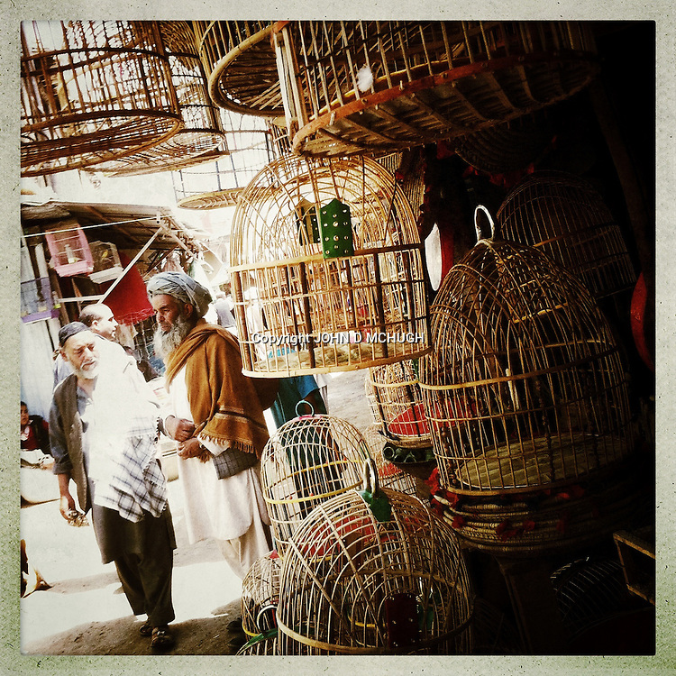 ** TO GO WITH AFGHANISTAN STORY FOR PETER MURTAGH - NO ARCHIVE, NO RESALE ** The Bird Market, Kabul, 23 August 2012. Hidden in the back alleys of a bazaar, singing and fighting birds are sold in handmade cages, as they have been for hundreds of years. (John D McHugh)
