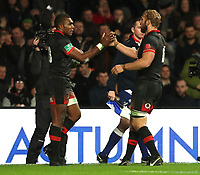 England's Semesa Rokoduguni celebrates scoring his sides second try with his fellow team mates during todays game<br /> <br /> Photographer Rachel Holborn/CameraSport<br /> <br /> International Rugby Union Friendly - Old Mutual Wealth Series Autumn Internationals 2017 - England v Argentina - Saturday 11th November 2017 - Twickenham Stadium - London<br /> <br /> World Copyright &copy; 2017 CameraSport. All rights reserved. 43 Linden Ave. Countesthorpe. Leicester. England. LE8 5PG - Tel: +44 (0) 116 277 4147 - admin@camerasport.com - www.camerasport.com
