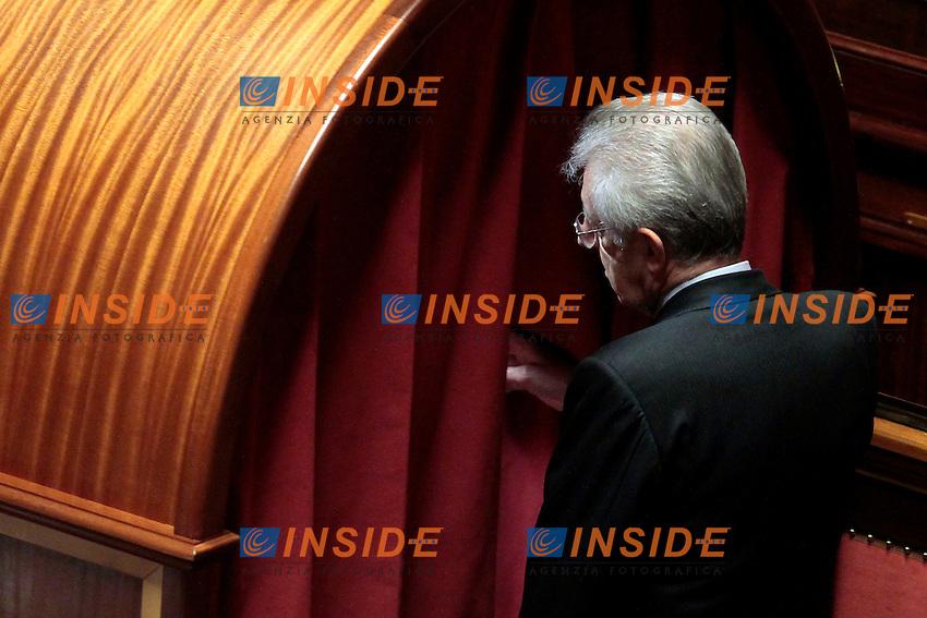 Mario Monti.Roma 16/03/2013 Senato. Seconda seduta della XVII Legislatura con voto per l'elezione del Presidente del Senato..Senate, election of the new President..Photo Samantha Zucchi Insidefoto