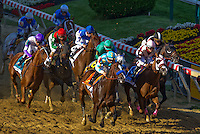 I'll Have Another( no. 9, purple cap), jockey Mario Gutierrez aboard, wins the Preakness Stakes to grab the second leg of the Triple Crown at Pimlico Race Course on May 19, 2012
