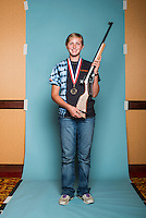 Cassandra Rychman (cq, age 14), of the Pierre Juniors Shooting Team, was the overall aggregate gold medal winner at the 2014 Daisy National BB Gun Championship Match in Rogers, Arkansas, Sunday, July 6, 2014.<br /> <br /> Photo by Matt Nager